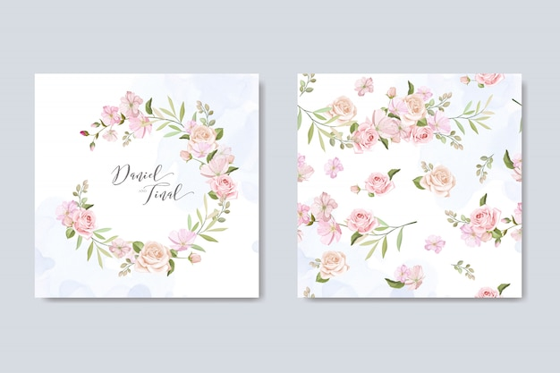 Bruiloft uitnodigingskaart met prachtige bloemen en bladeren Premium Vector