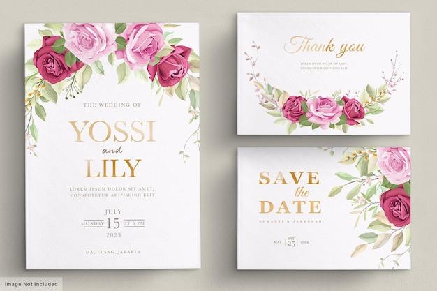 Bruiloft uitnodigingskaart met prachtige bloemen Gratis Vector
