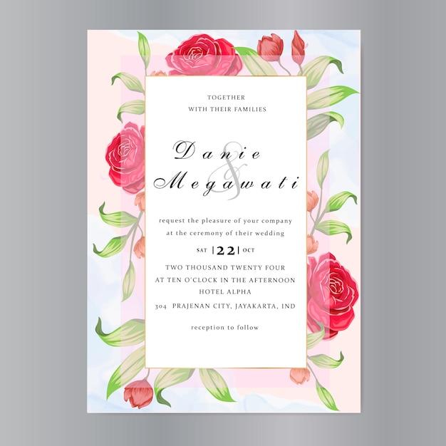 Bruiloft uitnodigingskaart met prachtige rozen sjabloon Premium Vector