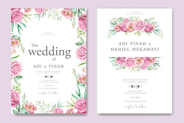 Bruiloft uitnodigingskaart met rozen en bladeren Premium Vector
