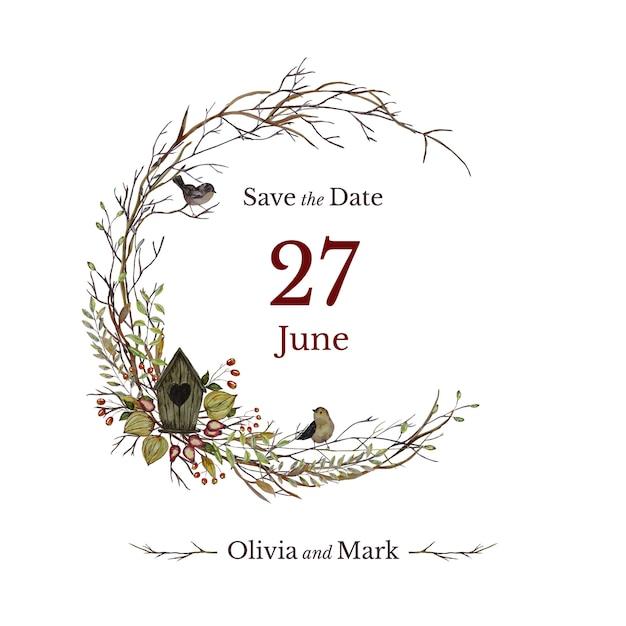 Bruiloft uitnodigingskaart met vogelhuisje en bloemen krans Premium Vector
