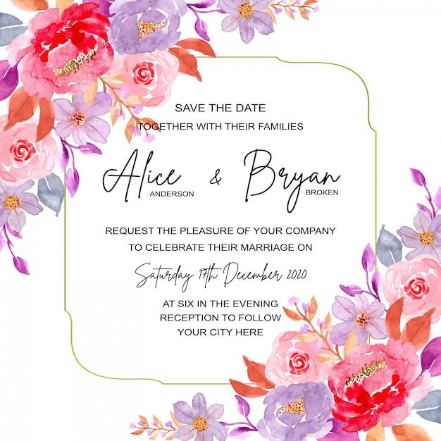Bruiloft uitnodigingskaart met zwarte en witte achtergrond Premium Vector