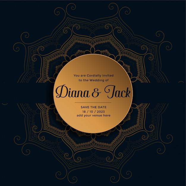 Bruiloft uitnodigingskaart ontwerp in gouden mandala-stijl Gratis Vector