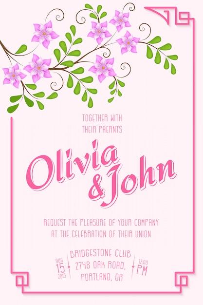 Bruiloft uitnodigingskaart. uitnodigingskaart met bloemenelementen op de achtergrond Gratis Vector