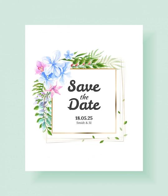 Bruiloft uitnodigingskaart Premium Vector