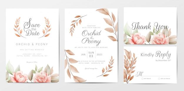 Bruiloft uitnodigingskaarten sjabloon set met bruine bloemen Premium Vector