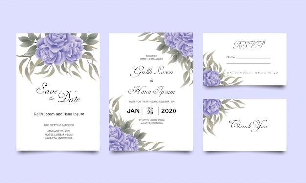 Bruiloft uitnodigingskaartsjablonen met blauw roze groene bladeren aquarel stijl decoratie Premium Vector