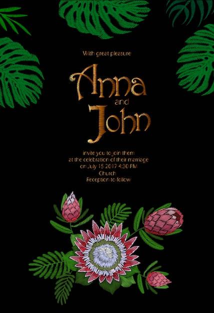 Bruiloft uitnodigingskaartsjabloon. bewaar de datum. tropisch exotisch monstera-bladerenontwerp Premium Vector