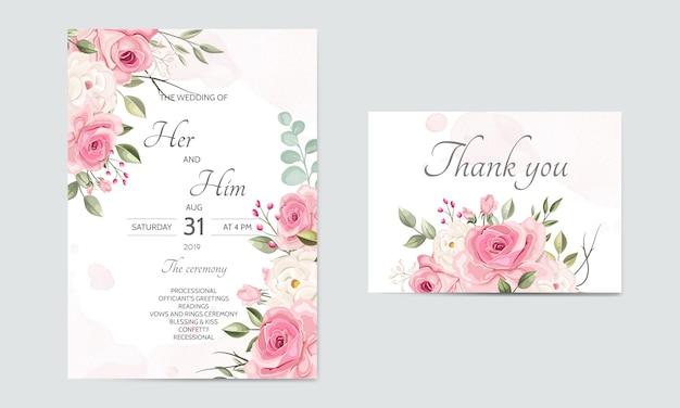 Bruiloft uitnodigingskaartsjabloon ingesteld met prachtige bloemenbladeren Premium Vector