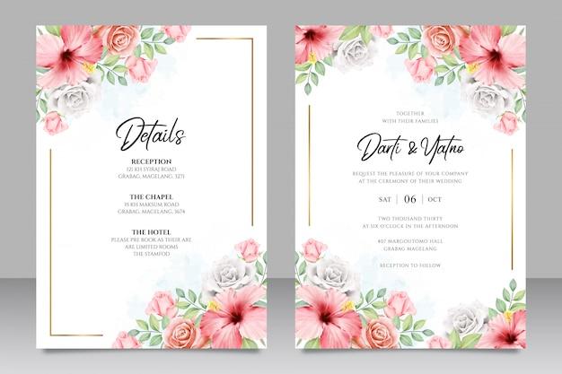 Bruiloft uitnodigingskaartsjabloon met bloemenframe aquarel Premium Vector