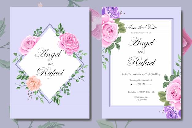 Bruiloft uitnodigingskaartsjabloon met mooie bloemen en bladeren Premium Vector