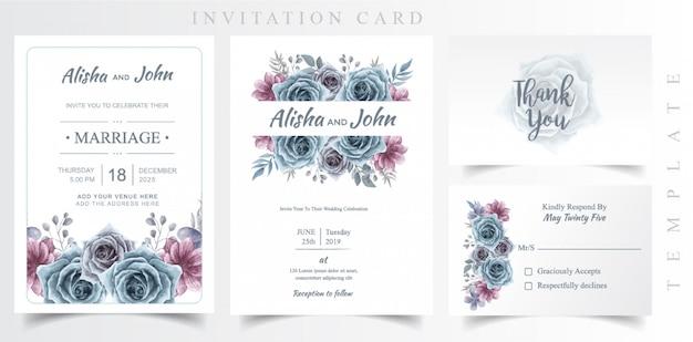 Bruiloft uitnodigingskaartsjabloon Premium Vector