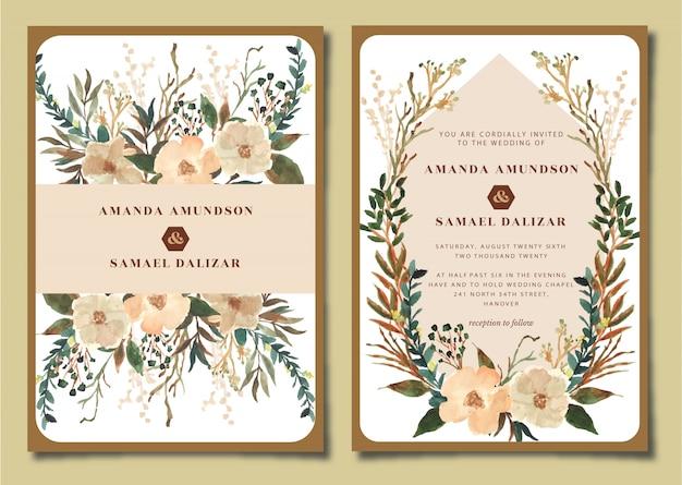 Bruiloft uitnodigingssuite met rustieke bloemen aquarel Premium Vector