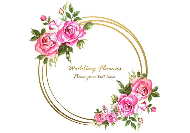 Bruiloft verjaardag decoratieve bloemen frame voor wenskaart Gratis Vector
