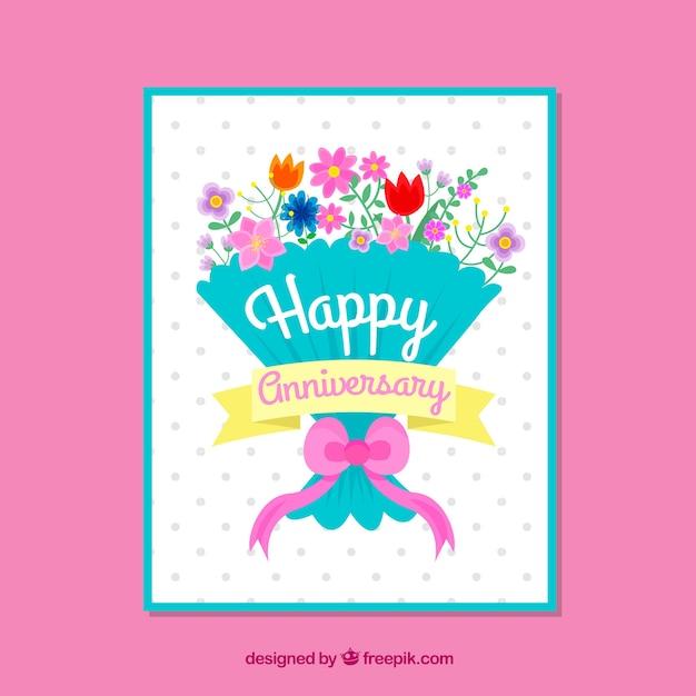 Bruiloft verjaardagskaart met boeket bloemen Gratis Vector