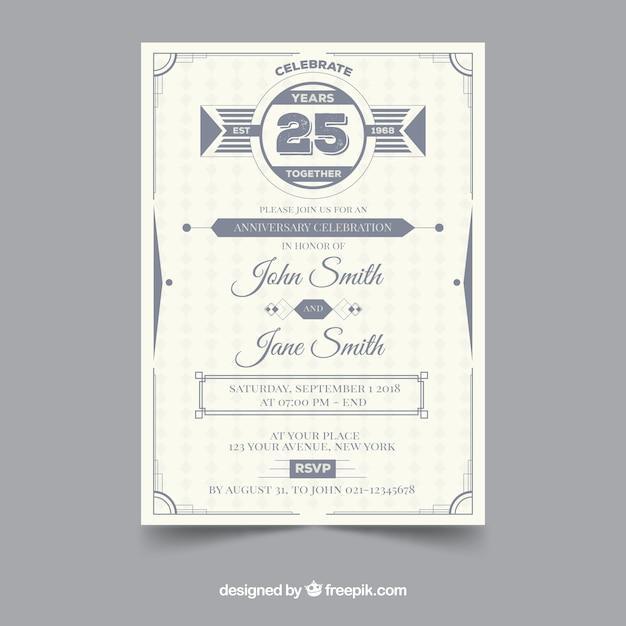 Bruiloft verjaardagskaart met ornamenten Gratis Vector