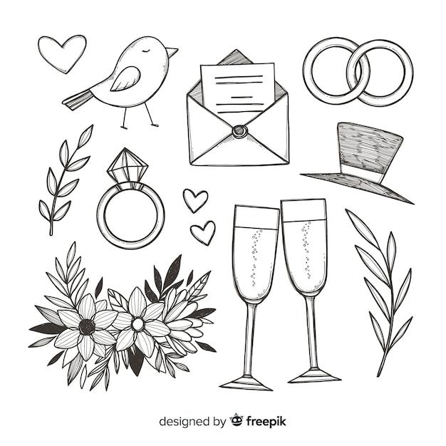 Bruiloft voorstel concept Gratis Vector