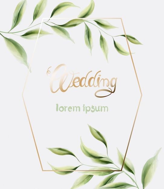 Bruiloft wenskaart met frame en bladeren Premium Vector