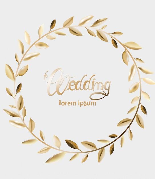 Bruiloft wenskaart met gouden bladeren Premium Vector