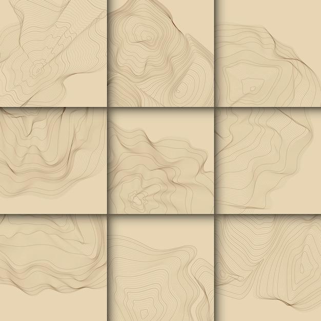 Bruin abstracte contourlijnen collectie Gratis Vector