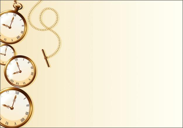 Bruin behang met retro horlogeontwerp Gratis Vector