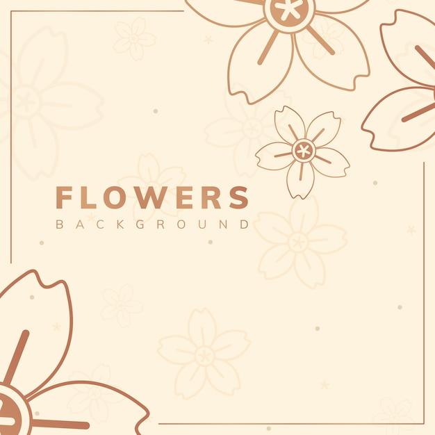 Bruin bloemenframe Gratis Vector