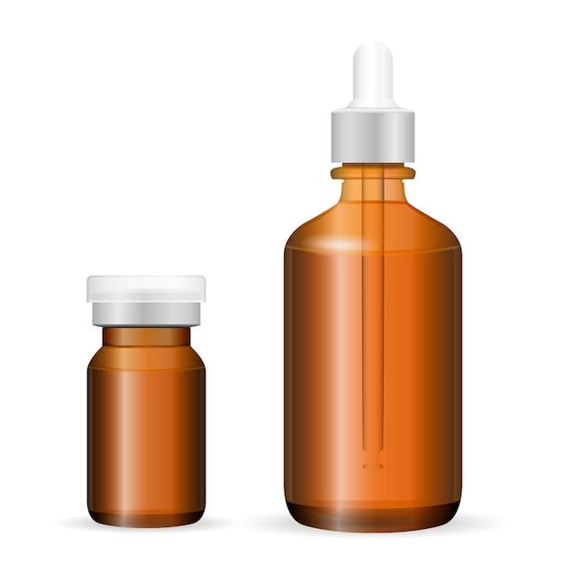 Bruin glas, plastic flessenverzorgingsproducten, medicijnen Premium Vector