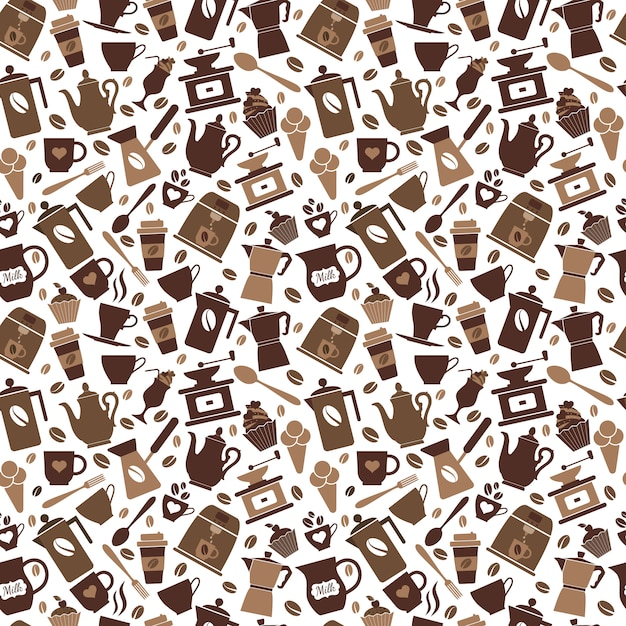 Bruin koffie naadloos patroon Premium Vector