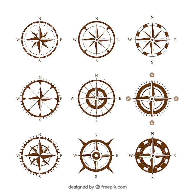 Bruin kompas Gratis Vector