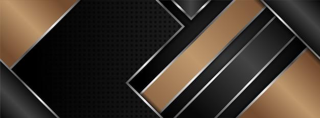 Bruin-zwarte horizontale achtergrond met driehoek en diagonale curve. Premium Vector