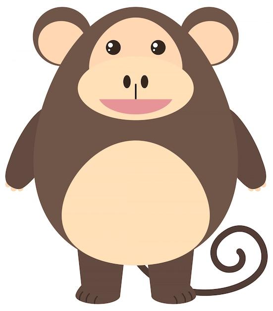 Bruine aap met blij gezicht Gratis Vector