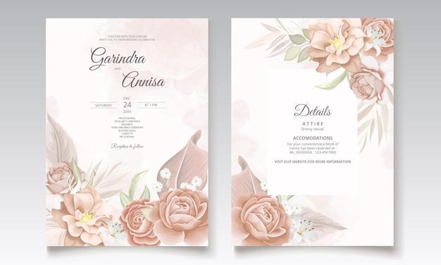 Bruine bloemen bruiloft uitnodiging sjabloon set met elegante bladeren decoratie Premium Vector