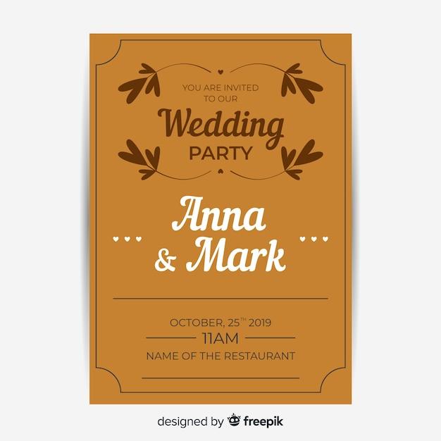 Bruine bruiloft uitnodiging met retro sjabloonontwerp Gratis Vector