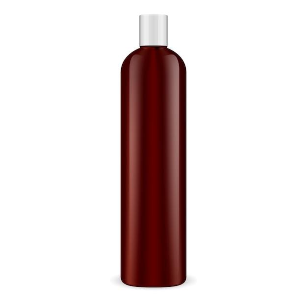 Bruine cosmetische fles. shampoo-container. Premium Vector