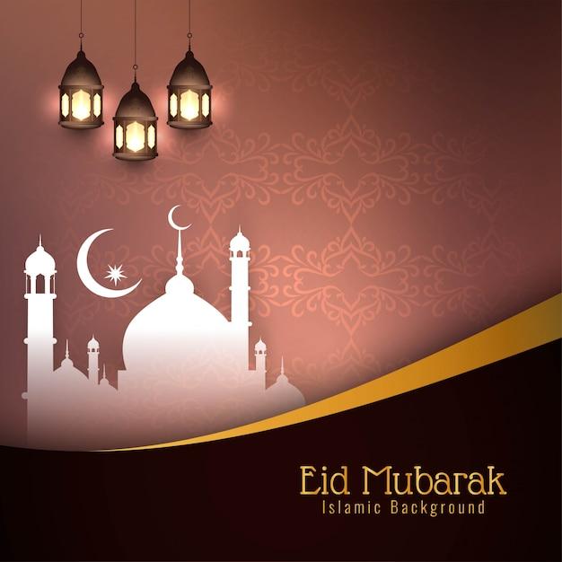 Bruine mooie eid mubarak islamic Gratis Vector
