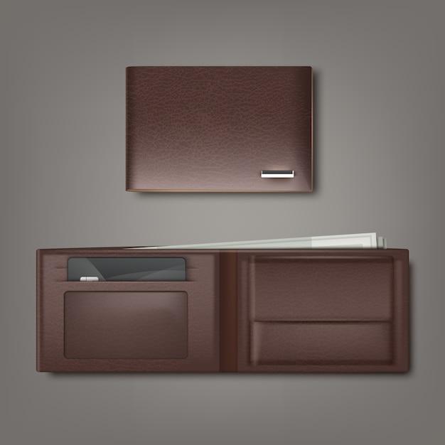 Bruine natuurlijke lederen portemonnee gesloten en open met geld en creditcard geïsoleerd op een grijze achtergrond Premium Vector