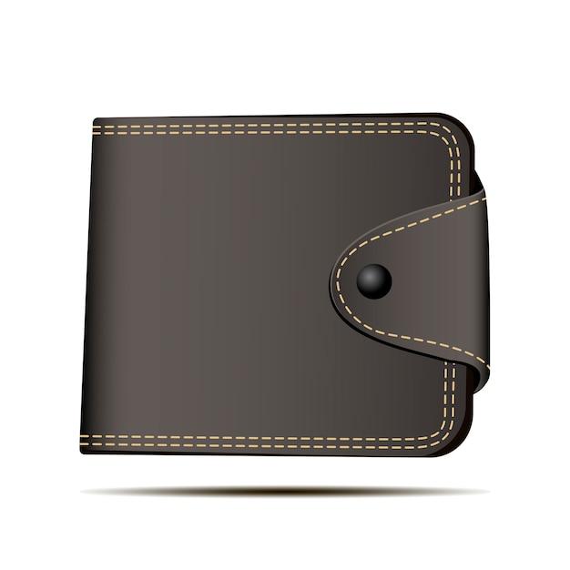 Bruine portemonnee vectorillustratie. stortingssymbool. Premium Vector