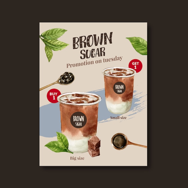 Bruine suiker bubble melk thee set, poster advertentie, sjabloon folder, aquarel illustratie Gratis Vector