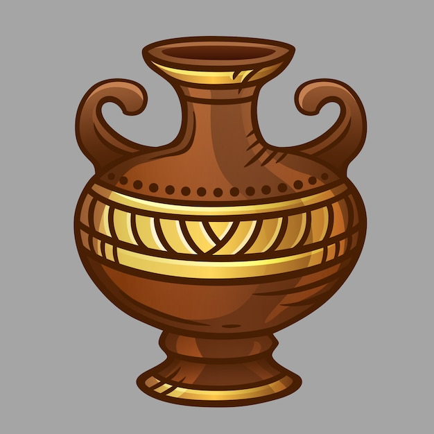 Bruine vaas met goudpatroon Premium Vector