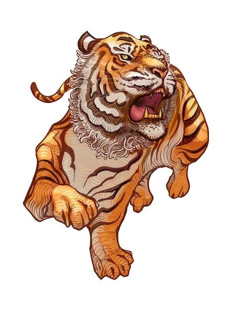 Brullende japanse tijger handgetekende illustratie Gratis Vector