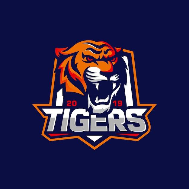 Brullende tijger logo Premium Vector