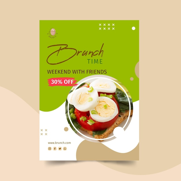 Brunch poster sjabloon Gratis Vector
