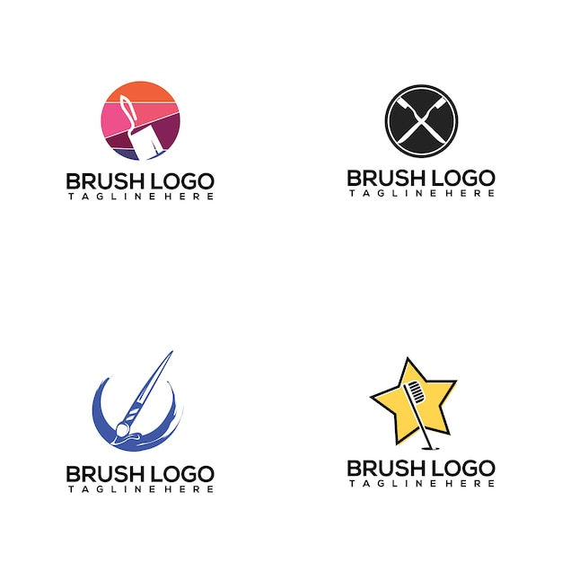 Brush logo collection Premium Vector