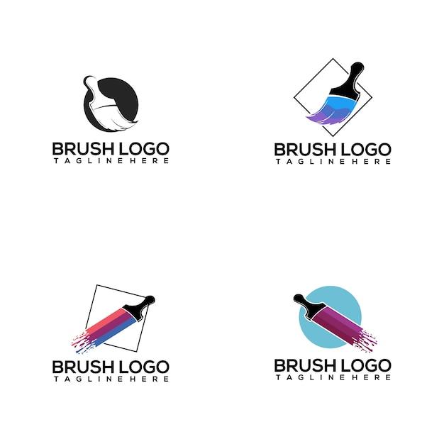 Brush logo collection Premium Vector