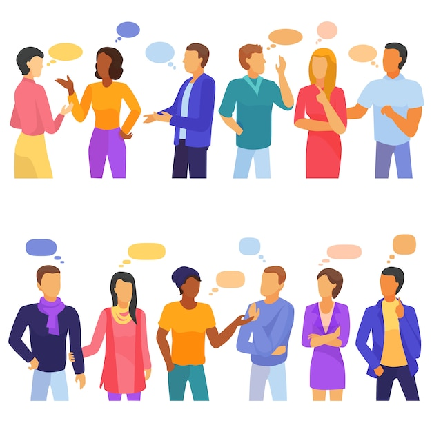 Bubble mensen vector bubbling speech communicatie en groep man vrouw vrienden discussie Premium Vector