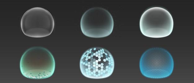 Bubble shields, beschermingskrachtvelden Gratis Vector