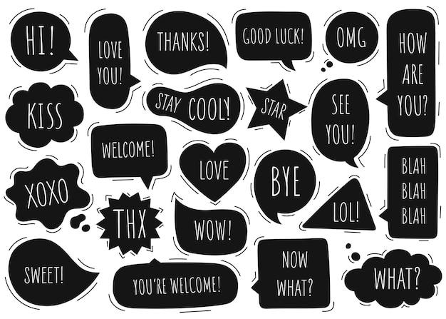Bubble speech collection communiceren. hand getrokken doodle. Premium Vector