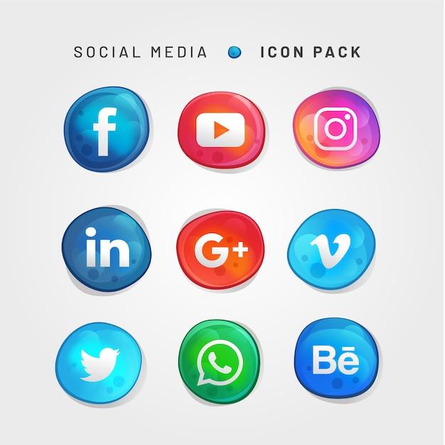 Bubble style social media icon pack Premium Vector