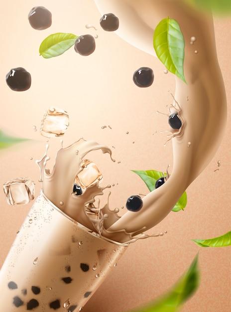 Bubble tea advertenties met spatten melkthee en parel gieten in glazen beker, 3d illustratie Premium Vector