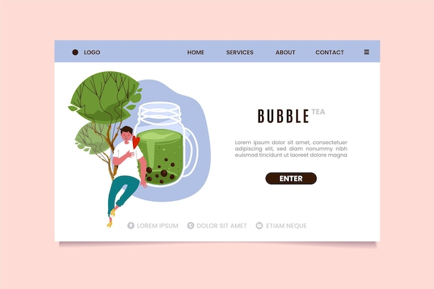 Bubble tea-bestemmingspagina-sjabloon Premium Vector